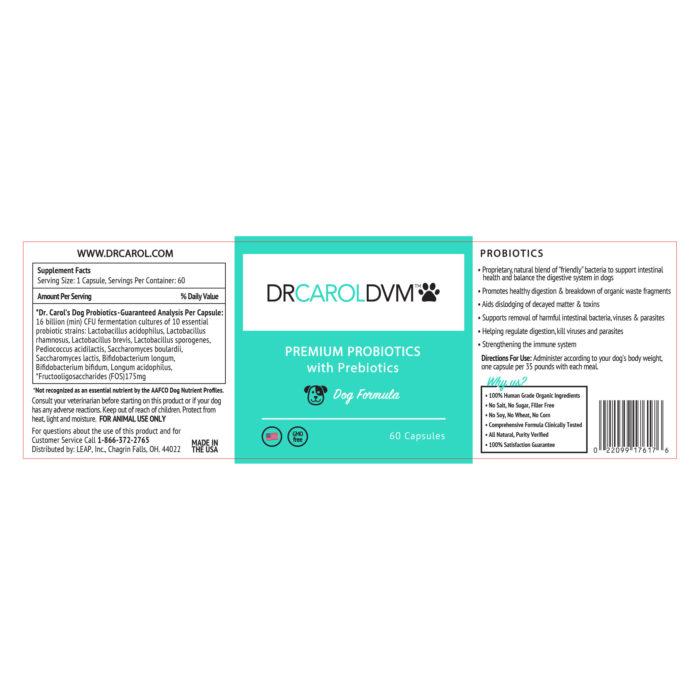 Dr. Carol's Premium Dog Probiotics with Prebiotic