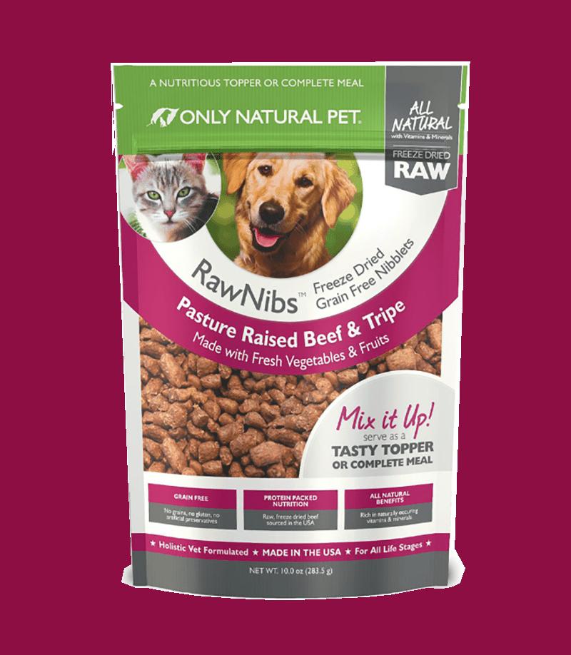 Only Natural Pet RawNibs Beef & Tripe Grain-Free Freeze-Dried Dog & Cat Food, 10-oz bag